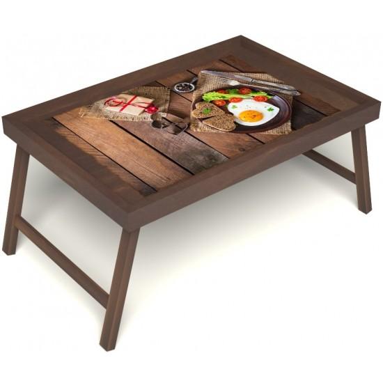 Столик для завтрака в постель «Русская берёза», «Идеальная яичница» без ручек цвет орех