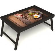 Столик для завтрака в постель «Русская берёза», «Идеальная яичница» без ручек цвет венге