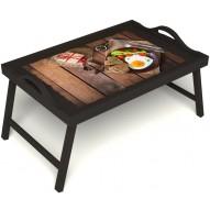 Столик для завтрака в постель «Идеальная яичница» с ручками цвет венге