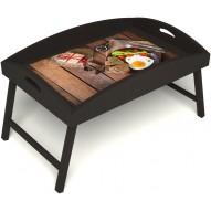 Столик для завтрака в постель «Русская берёза», «Идеальная яичница» с высоким бортиком цвет венге