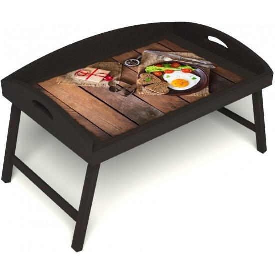 Столик для завтрака в постель «Русская берёза», «Идеальная яичница» с 3-мя высокими бортиками цвет венге