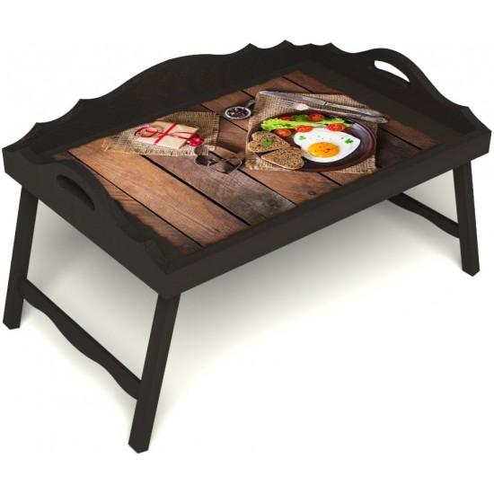 Столик для завтрака в постель «Русская берёза», «Идеальная яичница» с 3-мя фигурными бортиками цвет венге