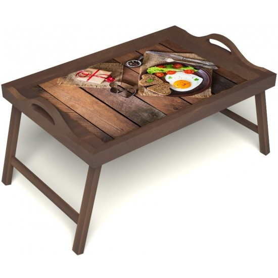 Столик для завтрака в постель «Идеальная яичница» с ручками цвет орех