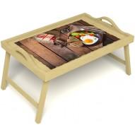 Столик для завтрака в постель «Русская берёза», «Идеальная яичница» с ручками цвет светлый