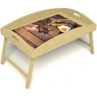 Столик для завтрака в постель «Русская берёза», «Идеальная яичница» с высоким бортиком цвет светлый
