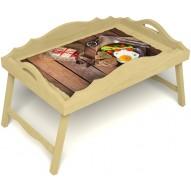 Столик для завтрака в постель «Русская берёза», «Идеальная яичница» с фигурным бортиком цвет светлый