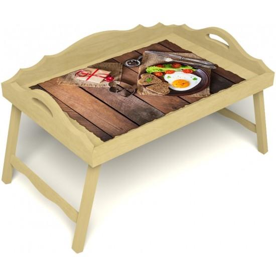 Столик для завтрака в постель «Русская берёза», «Идеальная яичница» с 3-мя фигурными бортиками цвет светлый
