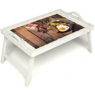 Столик для завтрака в постель «Русская берёза», «Идеальная яичница» с ручками цвет белый