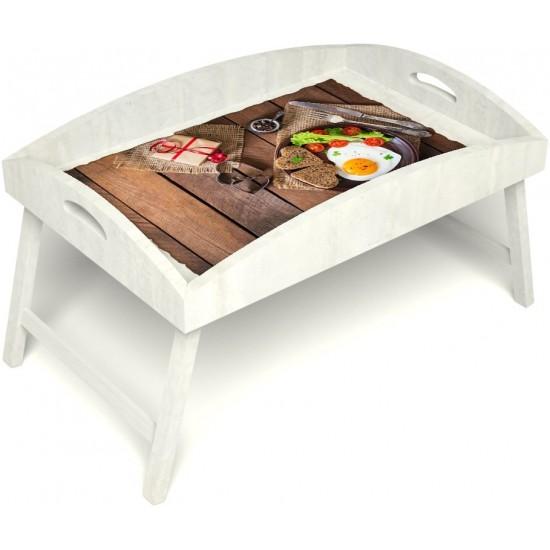 Столик для завтрака в постель «Русская берёза», «Идеальная яичница» с высоким бортиком цвет белый