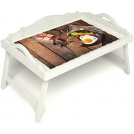 Столик для завтрака в постель «Русская берёза», «Идеальная яичница» с 3-мя фигурными бортиками цвет белый
