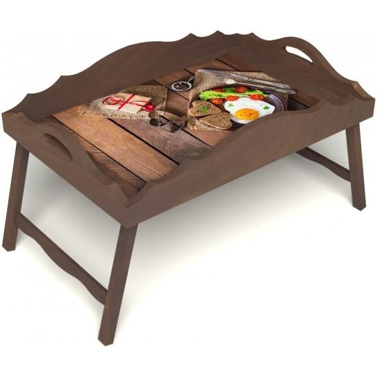 Столик для завтрака в постель «Русская берёза», «Идеальная яичница» с фигурным бортиком цвет орех