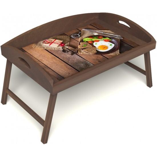 Столик для завтрака в постель «Русская берёза», «Идеальная яичница» с 3-мя высокими бортиками цвет орех