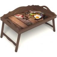 Столик для завтрака в постель «Русская берёза», «Идеальная яичница» с 3-мя фигурными бортиками цвет орех