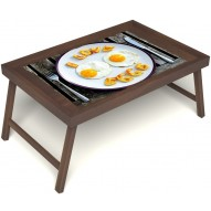 Столик для завтрака в постель «Русская берёза», «Любовь к яичнице» без ручек цвет орех