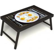 Столик для завтрака в постель «Русская берёза», «Любовь к яичнице» без ручек цвет венге