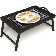 Столик для завтрака в постель «Любовь к яичнице» с ручками цвет венге