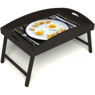 Столик для завтрака в постель «Русская берёза», «Любовь к яичнице» с высоким бортиком цвет венге
