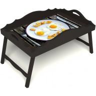 Столик для завтрака в постель «Русская берёза», «Любовь к яичнице» с фигурным бортиком цвет венге
