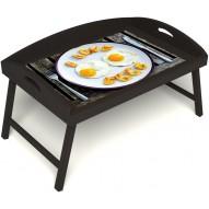 Столик для завтрака в постель «Русская берёза», «Любовь к яичнице» с 3-мя высокими бортиками цвет венге