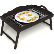 Столик для завтрака в постель «Русская берёза», «Любовь к яичнице» с 3-мя фигурными бортиками цвет венге