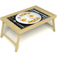 Столик для завтрака в постель «Русская берёза», «Любовь к яичнице» без ручек цвет светлый