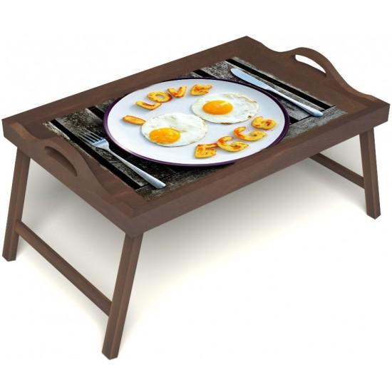 Столик для завтрака в постель «Русская берёза», «Любовь к яичнице» с ручками цвет орех