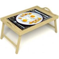 Столик для завтрака в постель «Русская берёза», «Любовь к яичнице» с ручками цвет светлый