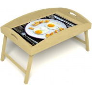 Столик для завтрака в постель «Русская берёза», «Любовь к яичнице» с высоким бортиком цвет светлый