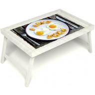 Столик для завтрака в постель «Русская берёза», «Любовь к яичнице» без ручек цвет белый