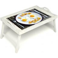 Столик для завтрака в постель «Русская берёза», «Любовь к яичнице» с ручками цвет белый