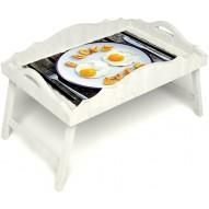 Столик для завтрака в постель «Русская берёза», «Любовь к яичнице» с фигурным бортиком цвет белый