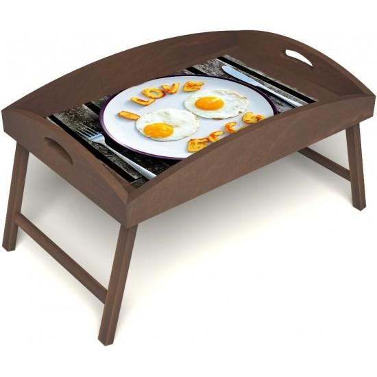 Столик для завтрака в постель «Русская берёза», «Любовь к яичнице» с высоким бортиком цвет орех