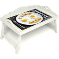 Столик для завтрака в постель «Русская берёза», «Любовь к яичнице» с 3-мя фигурными бортиками цвет белый