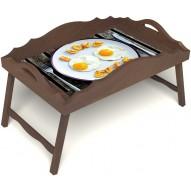 Столик для завтрака в постель «Русская берёза», «Любовь к яичнице» с фигурным бортиком цвет орех