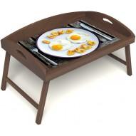 Столик для завтрака в постель «Русская берёза», «Любовь к яичнице» с 3-мя высокими бортиками цвет орех