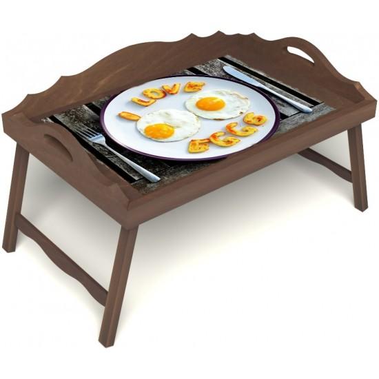 Столик для завтрака в постель «Русская берёза», «Любовь к яичнице» с 3-мя фигурными бортиками цвет орех