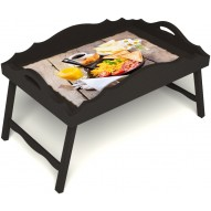 Столик для завтрака в постель «Русская берёза», «Английский завтрак» с фигурным бортиком цвет венге