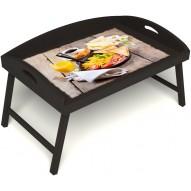 Столик для завтрака в постель «Русская берёза», «Английский завтрак» с 3-мя высокими бортиками цвет венге