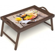 Столик для завтрака в постель «Русская берёза», «Английский завтрак» с ручками цвет орех