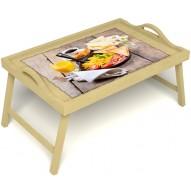 Столик для завтрака в постель «Русская берёза», «Английский завтрак» с ручками цвет светлый