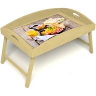 Столик для завтрака в постель «Русская берёза», «Английский завтрак» с высоким бортиком цвет светлый