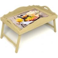 Столик для завтрака в постель «Русская берёза», «Английский завтрак» с фигурным бортиком цвет светлый