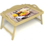 Столик для завтрака в постель «Русская берёза», «Английский завтрак» с 3-мя фигурными бортиками цвет светлый
