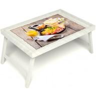 Столик для завтрака в постель «Русская берёза», «Английский завтрак» без ручек цвет белый