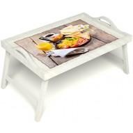 Столик для завтрака в постель «Русская берёза», «Английский завтрак» с ручками цвет белый