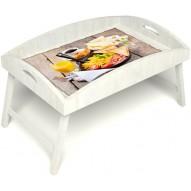 Столик для завтрака в постель «Русская берёза», «Английский завтрак» с высоким бортиком цвет белый