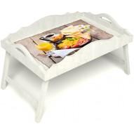 Столик для завтрака в постель «Русская берёза», «Английский завтрак» с фигурным бортиком цвет белый