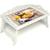 Столик для завтрака в постель «Русская берёза», «Английский завтрак» с 3-мя фигурными бортиками цвет белый