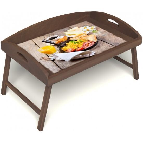 Столик для завтрака в постель «Русская берёза», «Английский завтрак» с 3-мя высокими бортиками цвет орех