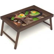 Столик для завтрака в постель «Полезный завтрак» без ручек цвет орех